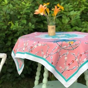 Other - Pink Floral & Bird Tablecloth